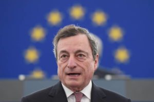 The President of the European Central Bank (ECB) Mario Draghi speaks during a ceremony to commemorate the 20th anniversary of the launch of the Euro at the European Parliament on January 15, 2019 in Strasbourg. (Photo by FREDERICK FLORIN / AFP)        (Photo credit should read FREDERICK FLORIN/AFP via Getty Images)